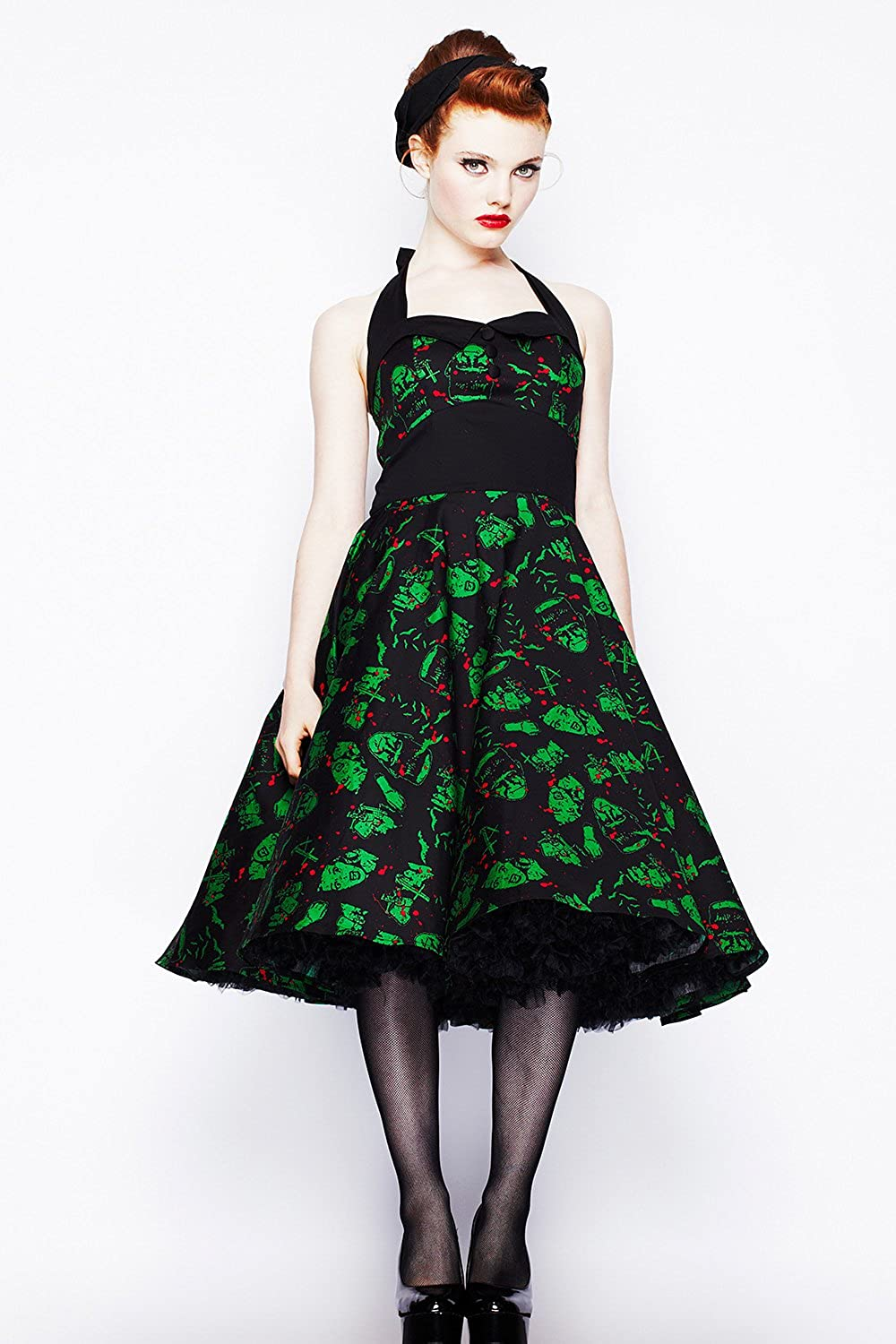 Amazon.com: Hell Bunny Black and Green Freddy Frankenstein Gothic Party Dress (XS): Clothing