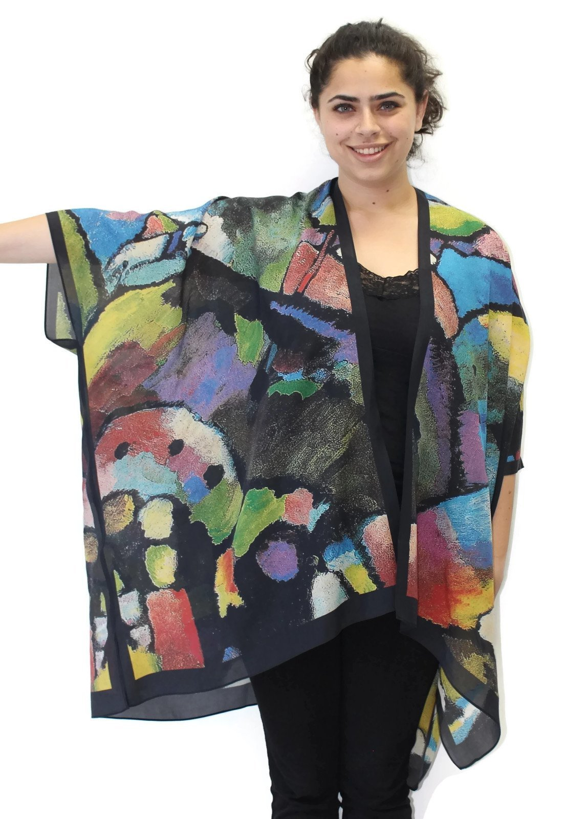 Women's Evening Jewels Silk Long Kimono Jacket Oversized One Size Plus by Cocoon House