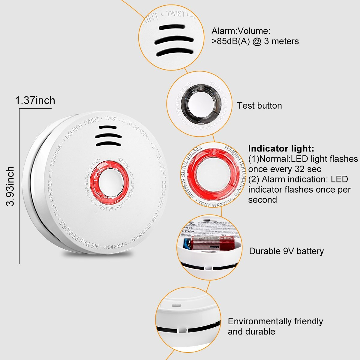 Smoke Alarm Fire Alarm Smoke Detector with Test Button 9 Volt Battery-Operated Photoelectric Smoke Alarms for Bedroom,Kitchen,Corridor,Bathroom and Hotel,10 Years 2 Pack Smoke Alarm with UL Listed by Askont (Image #2)