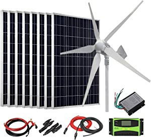 AUECOOR 1600W 48V Solar Wind Kit for Home Off Grid System: 8 x 100W Polycrystalline Solar Panel + 800W Wind Turbine + Accessories