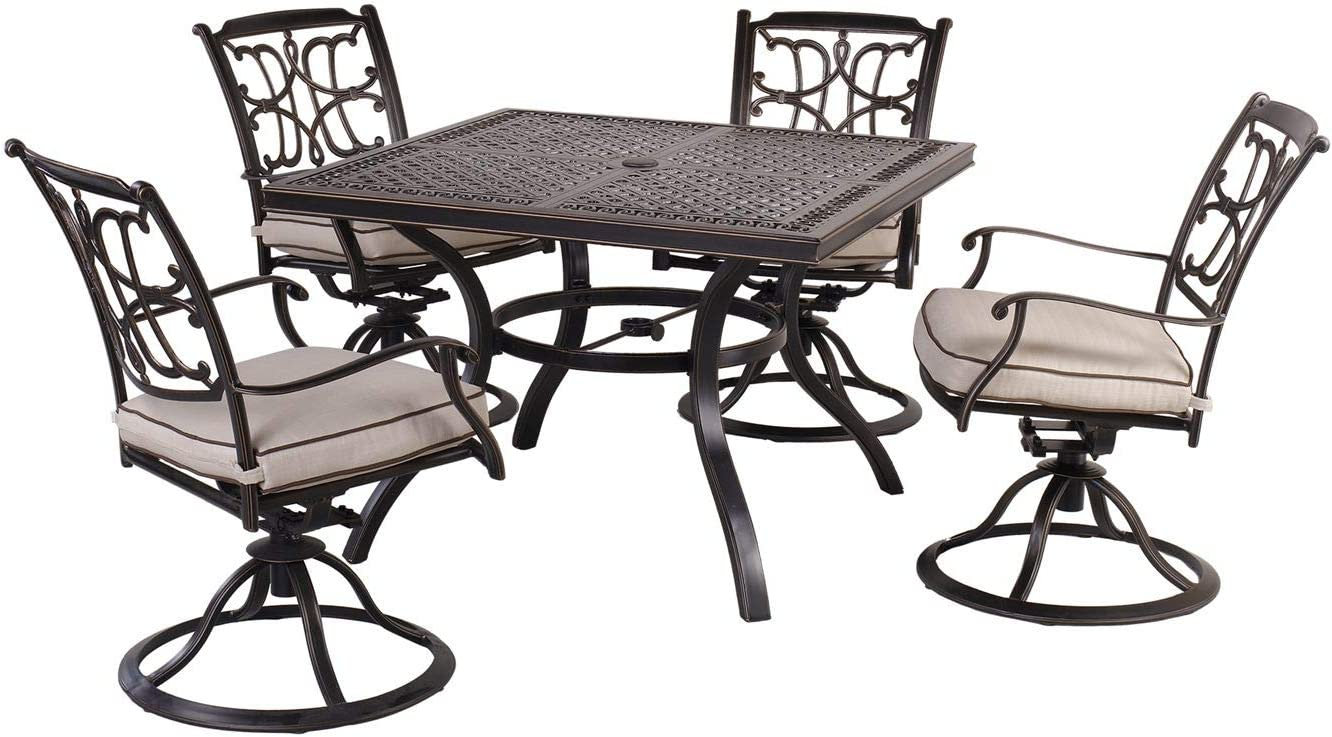 """CW Chair Set of 5 Cast Aluminum Outdoor Patio Dining Set with 4 Swivel Dining Chairs and 42"""" Square Dining Table, Rust-Free, Seat Cushions"""