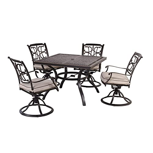 CW Chair Set of 5 Cast Aluminum Outdoor Patio Set with 4 Swivel Chairs and 42 Square Dining Table, Rust-Free, Seat Cushions, Brown