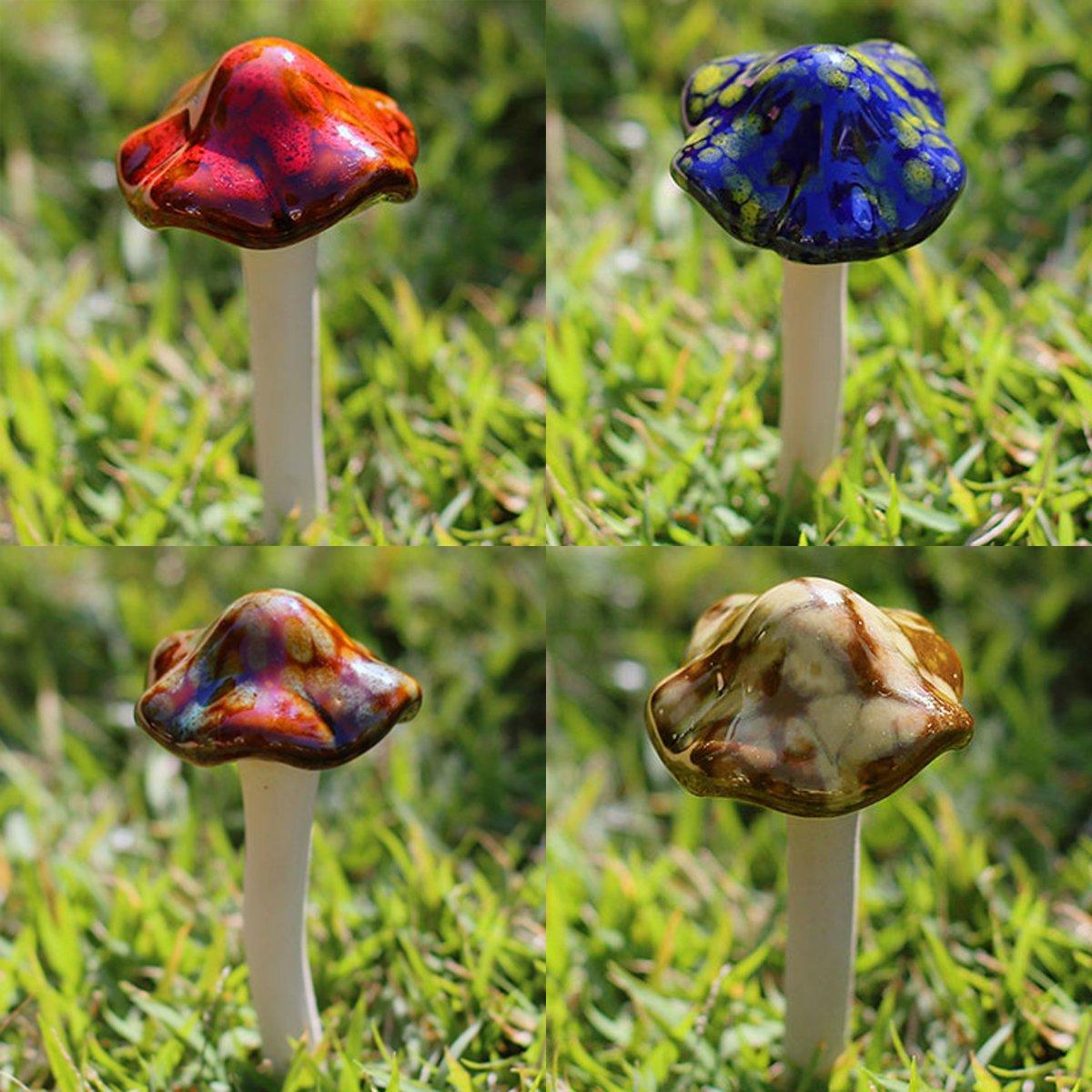 Amazon.com : Aigel Ceramic Mushrooms Figurine Garden Decor, Garden ...