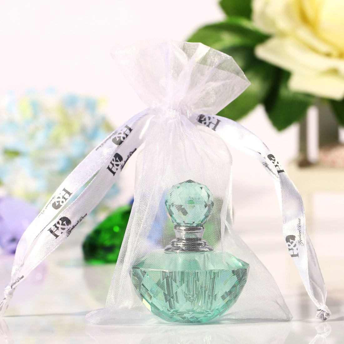 H y D Vintage Verde claro cristal vacío recargable Mini botella de Perfume: Amazon.es: Hogar