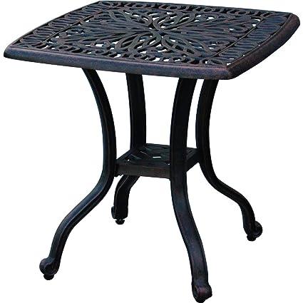 Miraculous Darlee Elisabeth Cast Aluminum Outdoor Patio End Table 21 Inch Square Antique Bronze Interior Design Ideas Clesiryabchikinfo