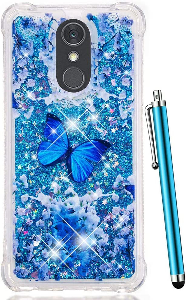 LG Stylo 4 Case Glitter, LG Q Stylus Case, CAIYUNL Liquid Sparkle Bling Shiny Clear TPU Quicksand Design Protective Phone Case Cute Women Men Cover Shockproof for LG Stylo 4 -Blue Butterfly Pattern