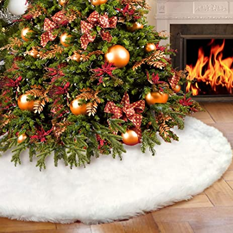 AerWo Faux Fur Christmas Tree Skirt 48 Inches Snowy White For Decorations