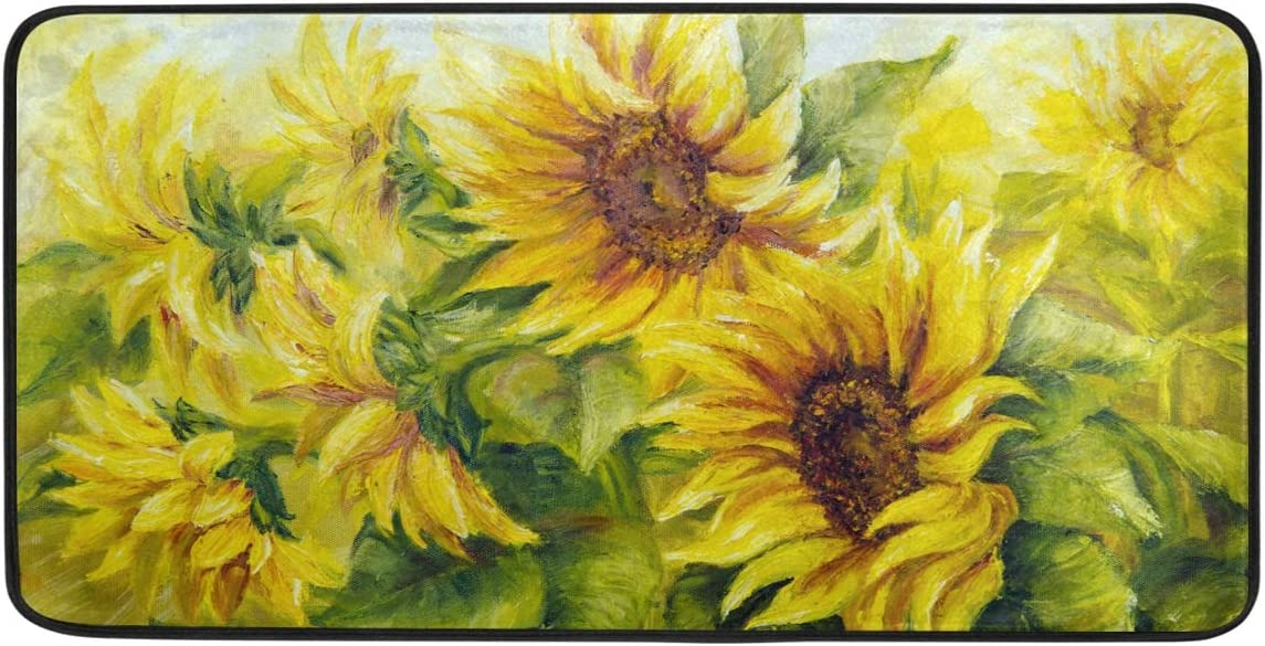 BEETTY Kitchen Rug Bathroom Mats Welcome Door Mats Floral Sunflowers Painting 39 x20 Non-Slip Washable