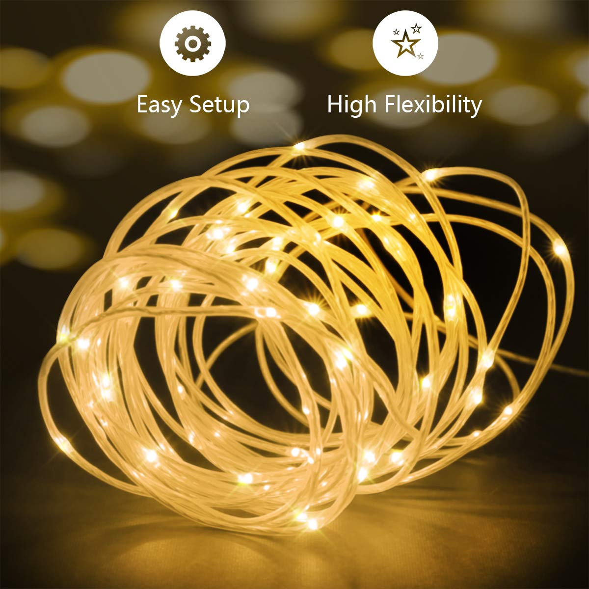 66ft Led Rope Lights Outdoor String Lights with 200 LEDs,16 Colors Changing Waterproof Starry Fairy Lights Plug in for Bedroom,Indoor,Patio,Home Decor by Omika (Image #4)