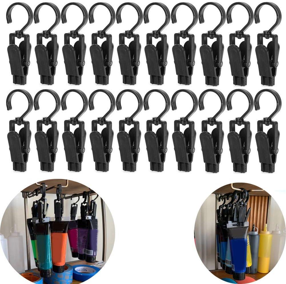 20 PCS Super Strong Plastic Home Travel Swivel Hanging Laundry Hooks Clip