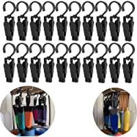VintageBee 20 PCS Super Strong Plastic Home Travel Swivel Hanging Laundry Hooks Clip - 4.3 Inches (Black)