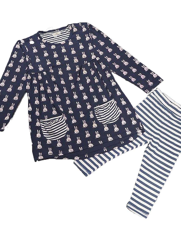 ODlover Girls Cartoon Rabbits Printed Long Sleeve Dress Striped Pants Two Pieces Set Pant Sets