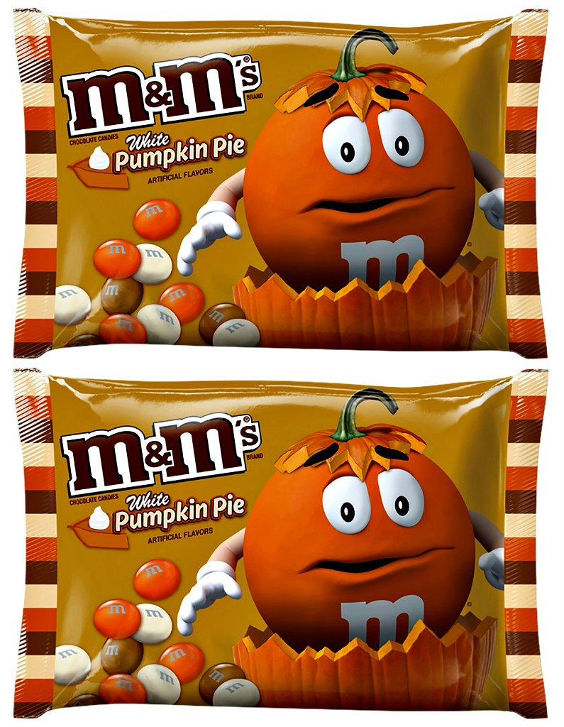 M&M's White Pumpkin Pie Chocolate Candy 8oz Bag (Pack of 2)