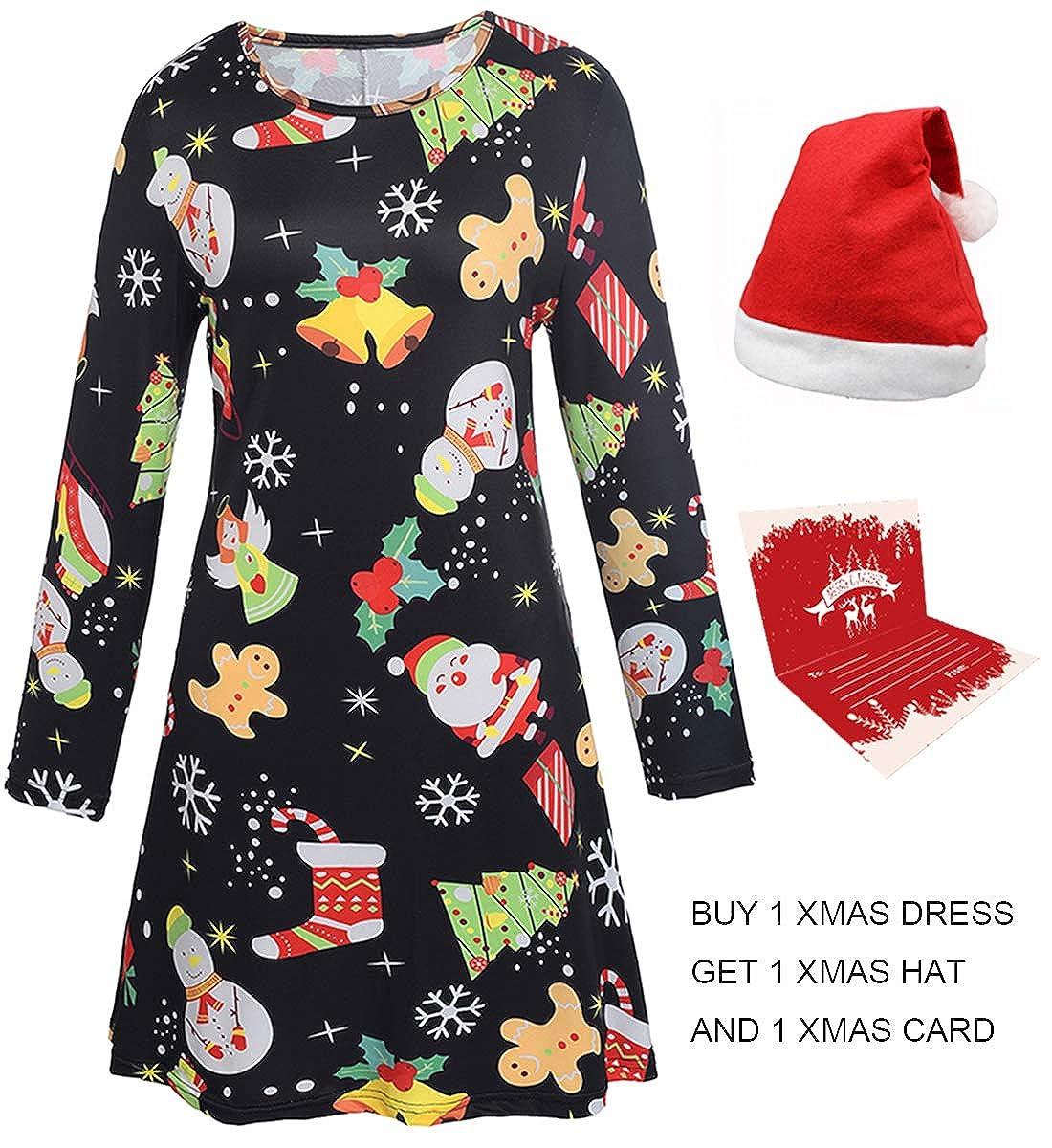 Youthwell Christmas Dress, Women Santa Snowman Print Long Sleeve Swing Dress MAS0001-04