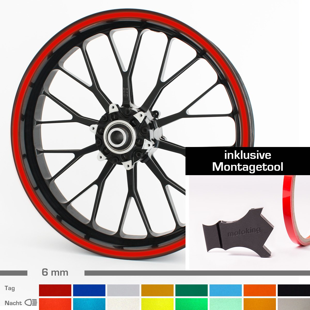 f/ür 10 bis 25 6 mm Farbe w/ählbar Motoking Felgenrandaufkleber mit Montagetool f/ür Ihr Motorrad