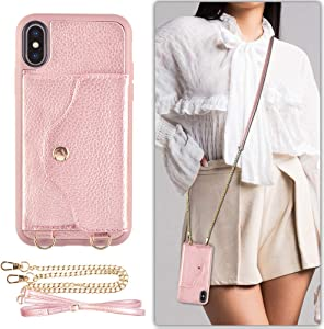 LAMEEKU iPhone Xs Case, iPhone X Wallet Case with Credit Card Holder Slot Leather Case, Protective Shockproof Back Cover with Crossbody Chain Strap Wrist Strap for Apple iPhone X/XS 5.8