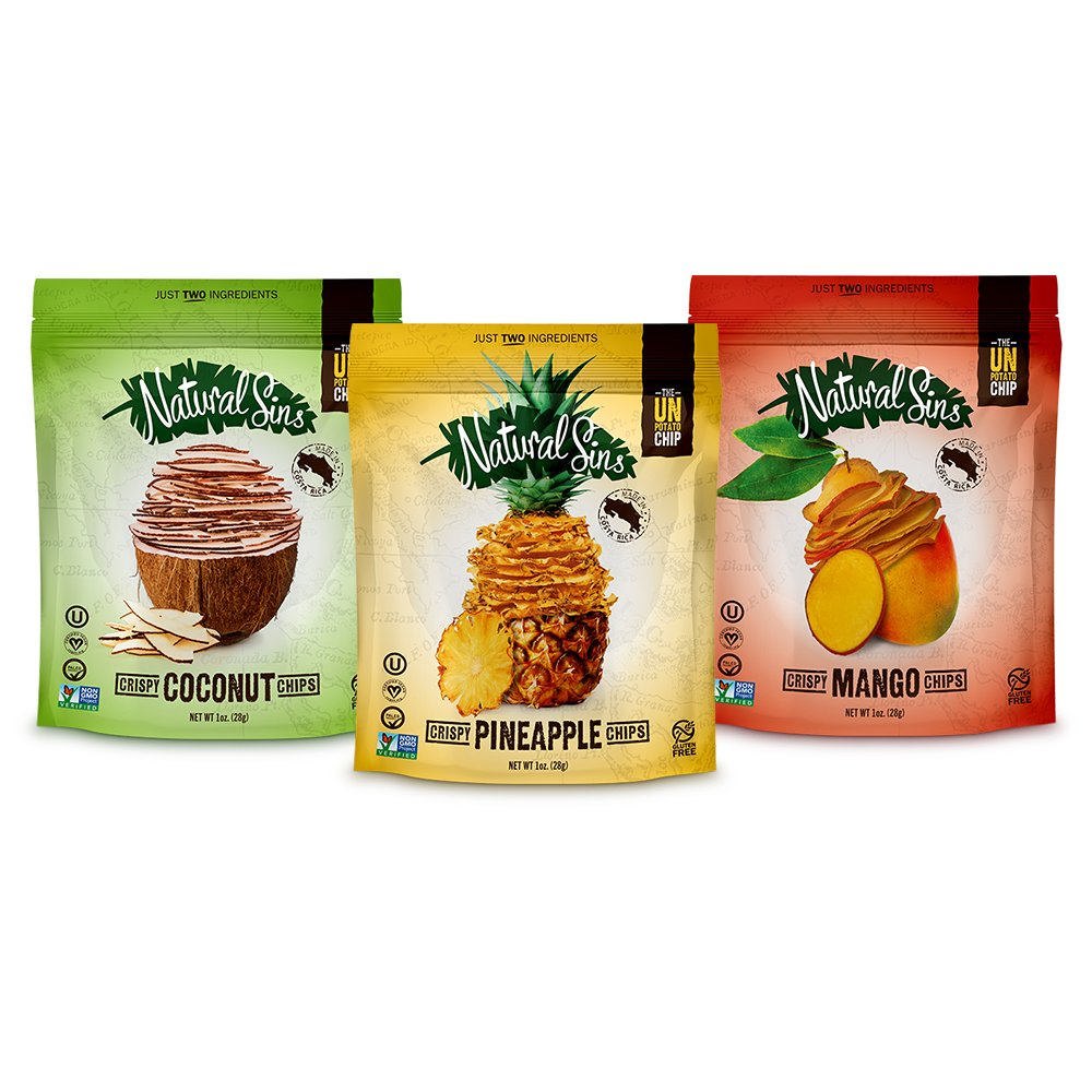 Natural Sins Chips Crispy Variety Pack with Dried Mango, Pineapple, Coconut Flavors, 1 Ounce Bags (12 Pack) Lightly Sweetened Chips, Vegan, Salt-Oil-Gluten-Free, Paleo-Friendly, Snack Food