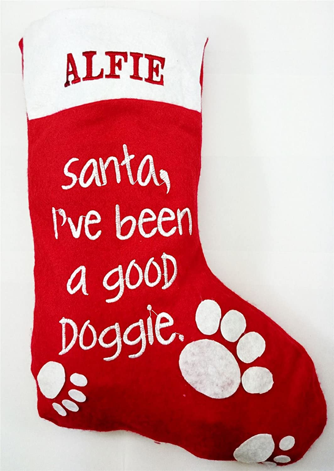 personalised christmas red stocking hanging dog gift pet xmas present sack name embroidered amazoncouk kitchen home - Xmas Present