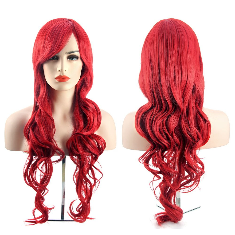 MelodySusie Cosplay Red Curly Wig - Fascinating Women Long Curly Wig with Free Wig Cap and Wig Comb (Red)