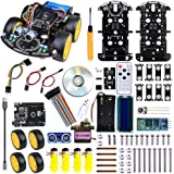 Jun_Electronic Arduino Smart Robot Car DIY Project Kit with UNO R3 (Micro USB interface) [Tracking, Avoidance, Ultrasonic obstacle avoidance, Infrared remote control, Bluetooth]