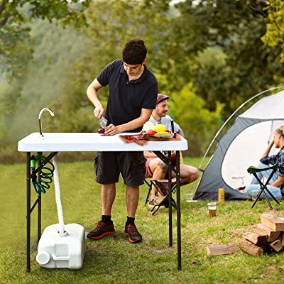 Folding Fish Fillet Hunting /& Cutting Table with Sink Faucet Camping Furniture