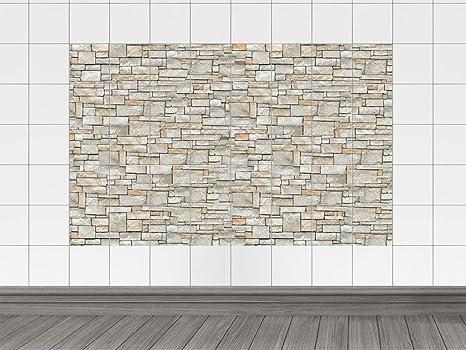 Graz design adesivo da cucina effetto muro di piastrelle in pietra