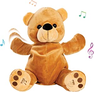 Bundaloo Clapping and Singing Bear - 11 x 6-Inch Talking Stuffed Animal for Kids - Musical Toys for Babies and Toddlers - Animated Plush Gifts for Little Girls and Boys - Play Games and Sing Songs