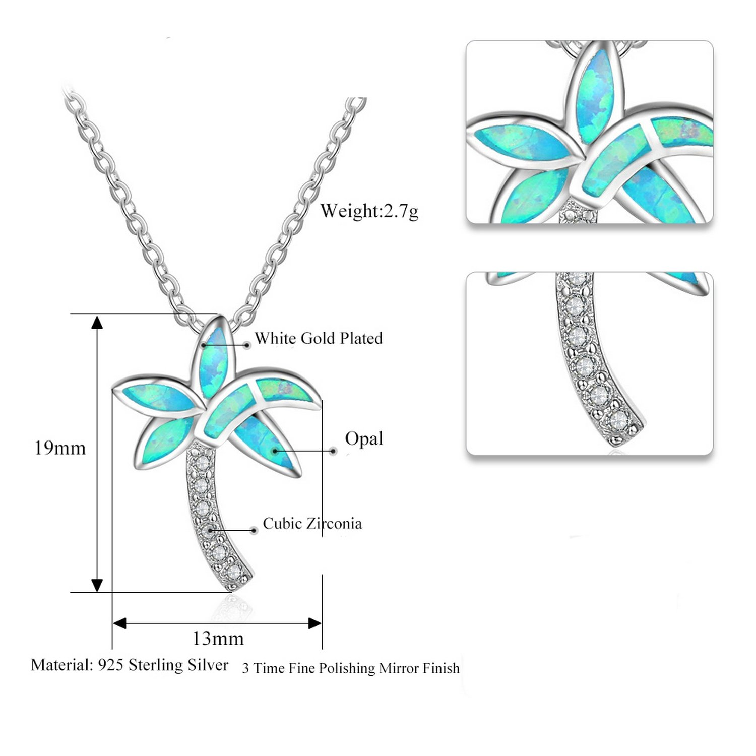 CS-DB Pendants Coconut Palm Tree Blue Opal Silver Necklaces