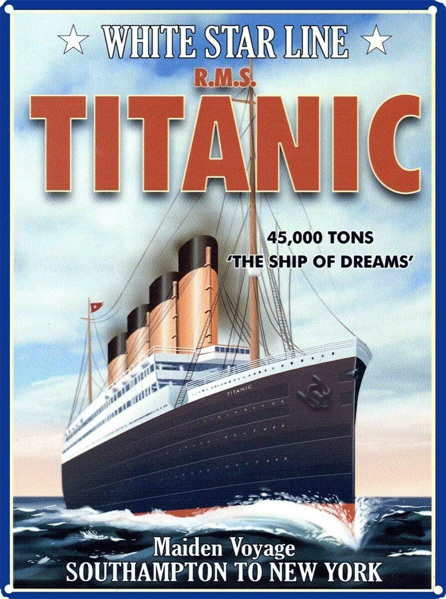 White Star Line Titanic P/óster de Pared Metal Creativo Placa Decorativa Cartel de Chapa Placas Vintage Decoraci/ón Pared Arte Muestra para Bar Club Caf/é