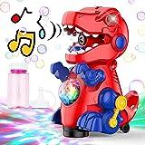 AUZEEG Bubble Machine, Dinosaur Bubble Maker with Colorful LED Lights & Universal Walking, 3000+ Bubbles Per Minute, Safe Mat