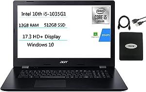 2021 Acer Aspire 3 17.3'' HD+ Laptop, 4-core Intel Core i5-1035G1(up to 3.60 GHz), 12GB RAM, 512GB SSD, HDMI WiFi RJ-45 Bluetooth Webcam DVD-RW, Win 10 w/Ghost Manta Accessories