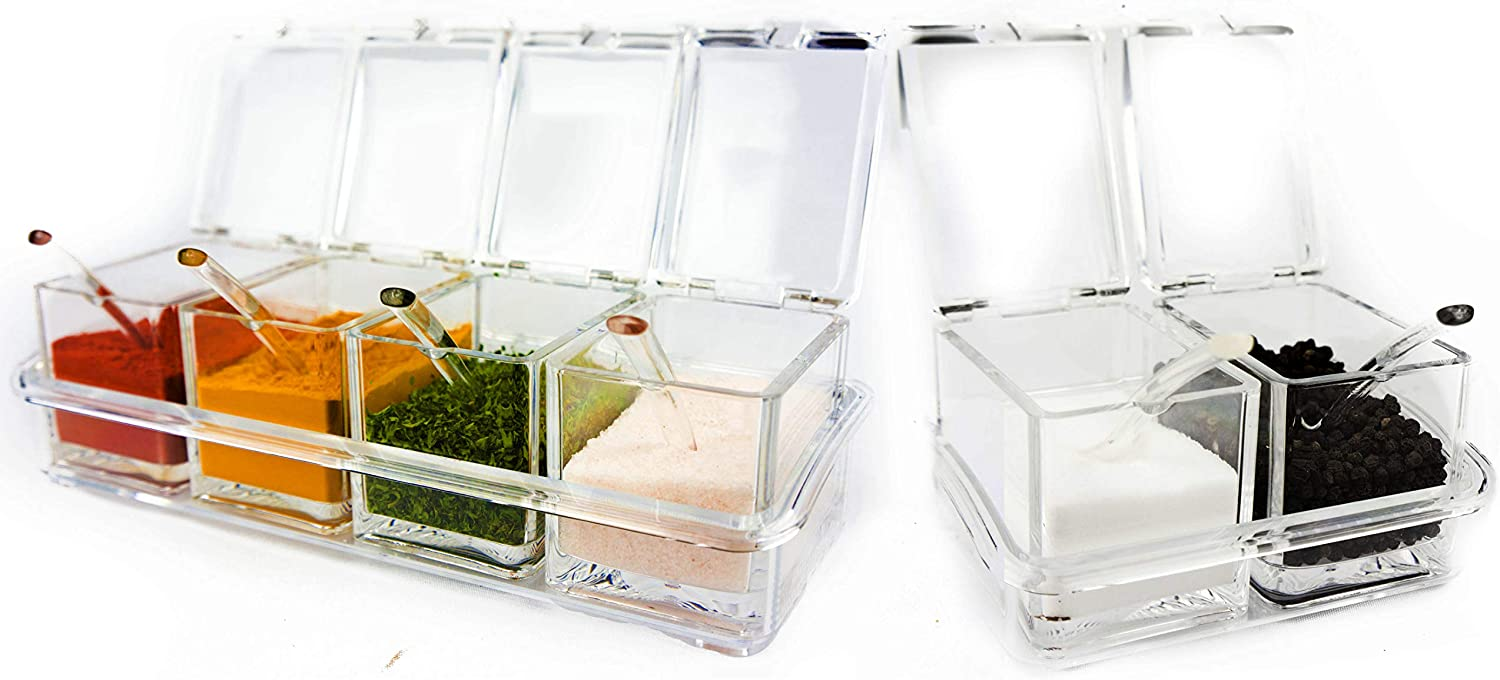 2 /& 4 Section Seasoning Storage Container Rack Combo Set with Removable Cruet Jars | by ImpiriLux 6 oz capacity each Six Compartment Condiment /& Spice Box Serving Set with Spoons