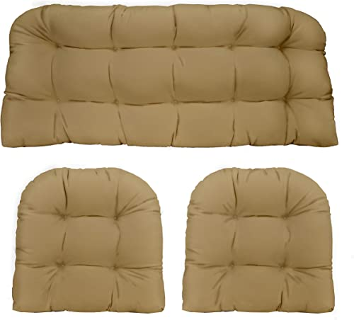 Resort Spa Home Decor 3 Piece Wicker Cushion Set – Indoor Outdoor Tan Solid Fabric Cushion for Wicker Loveseat Settee 2 Matching Chair Cushions