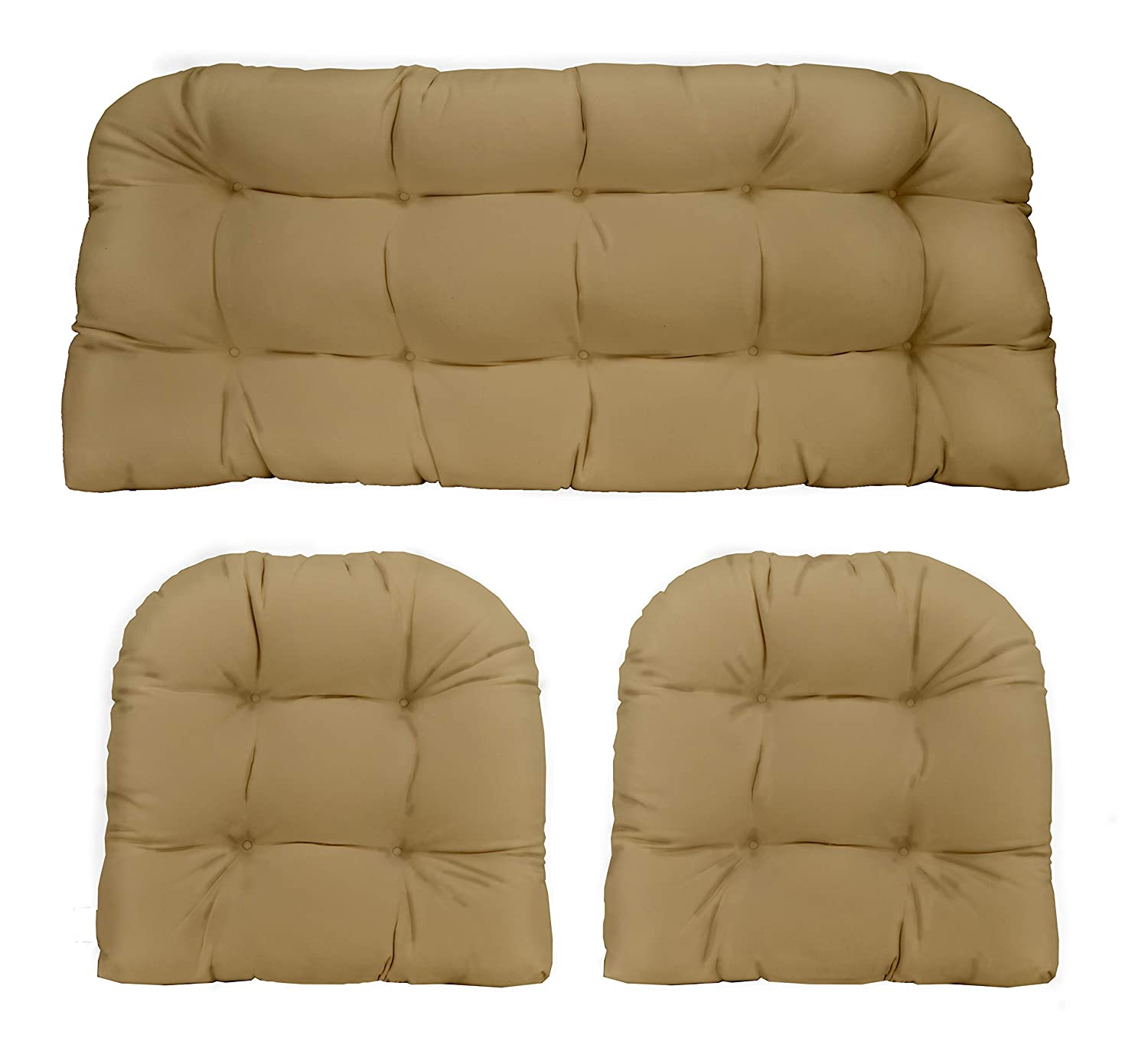 3 Piece Wicker Cushion Set – Indoor Outdoor Tan Solid Fabric Cushion for Wicker Loveseat Settee 2 Matching Chair Cushions