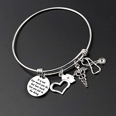 Zuo Bao Funny Nurse RN Gift Nurses Day Gift Doctor Nursing Jewelry Nurse Appreciation Coffee Scrubs and Rubber Gloves Keychain Nurse Life Gift