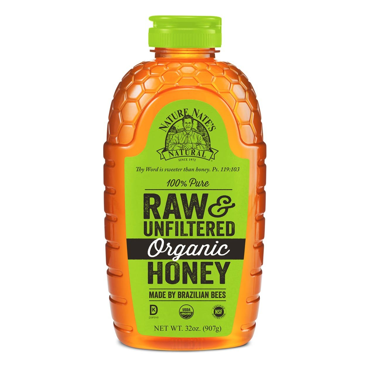Nature Nate's 100% Pure Raw & Unfiltered Honey; Certified Gluten Free and OU Kosher Certified; Enjoy Honey's Balanced Flavors, Wholesome Benefits and Sweet Natural Goodness; 16-oz. Squeeze Bottle