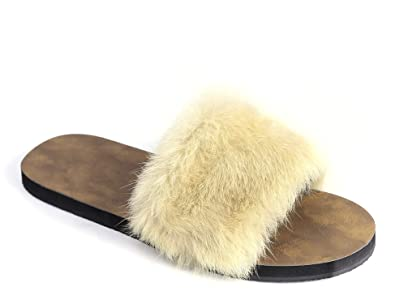 f3a2fc96afa1 MaxMuxun Womens Sliders Casual Slip On Flat Faux Fur Rubber Slider Fuzzy  Slides Sandals Beige Slippers