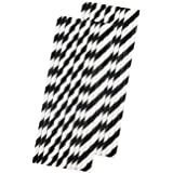 Stripe Paper Straws - Black White - 7.75 Inches - Pack of 50 - Outside the Box Papers Brand