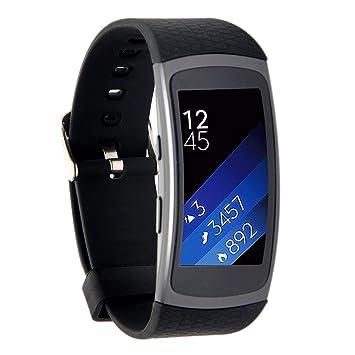 Greatfine Silicona Muñequera de Repuesto Reemplazo Deportes Wristband Correa de Reloj Pulsera para Samsung Gear Fit2 Accessory Reloj Band (Black): ...