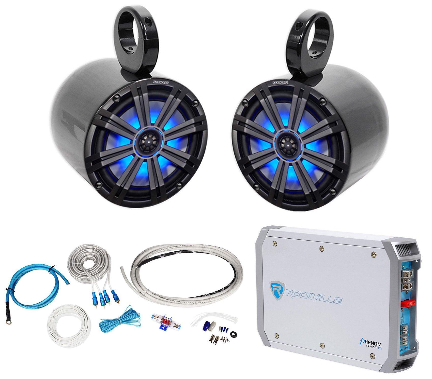 Pair KICKER 45KM84L 8'' 600 Watt Marine LED Wakeboard Speakers+Amplifier+Amp Kit