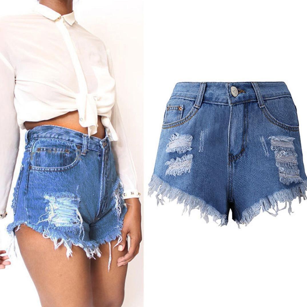Donna Viaggio Taglia Forte Pantaloni Corti Jeans Estate Pantaloncini Casuale Shorts