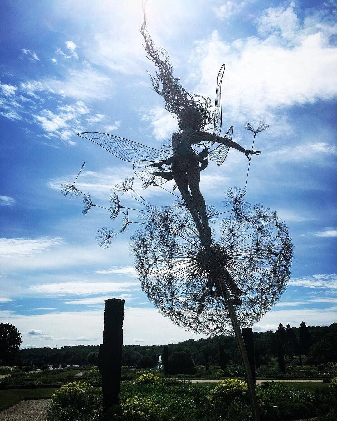 Faries and Dandelions Dance Together Sculpture, in Dark Metal Yard Art, Indoor Outdoor Lawn Pathway Patio Ornaments, Wind Catcher Yard Patio Decoration Graduation Gifts for Her 2021