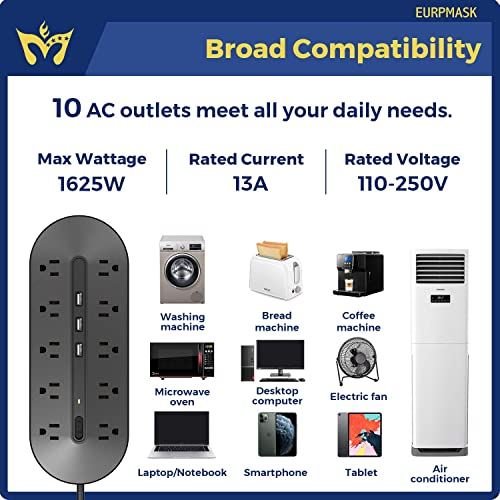 Power Strip, EURPMASK Surge Protector with 10 AC Outlets and 3 USB Ports, Heavy Duty 6.5Ft Extension Cord 1625W 13A , Wall Mountable, Multiplug for Multiple Devices Smartphone Tablet Laptop Computer