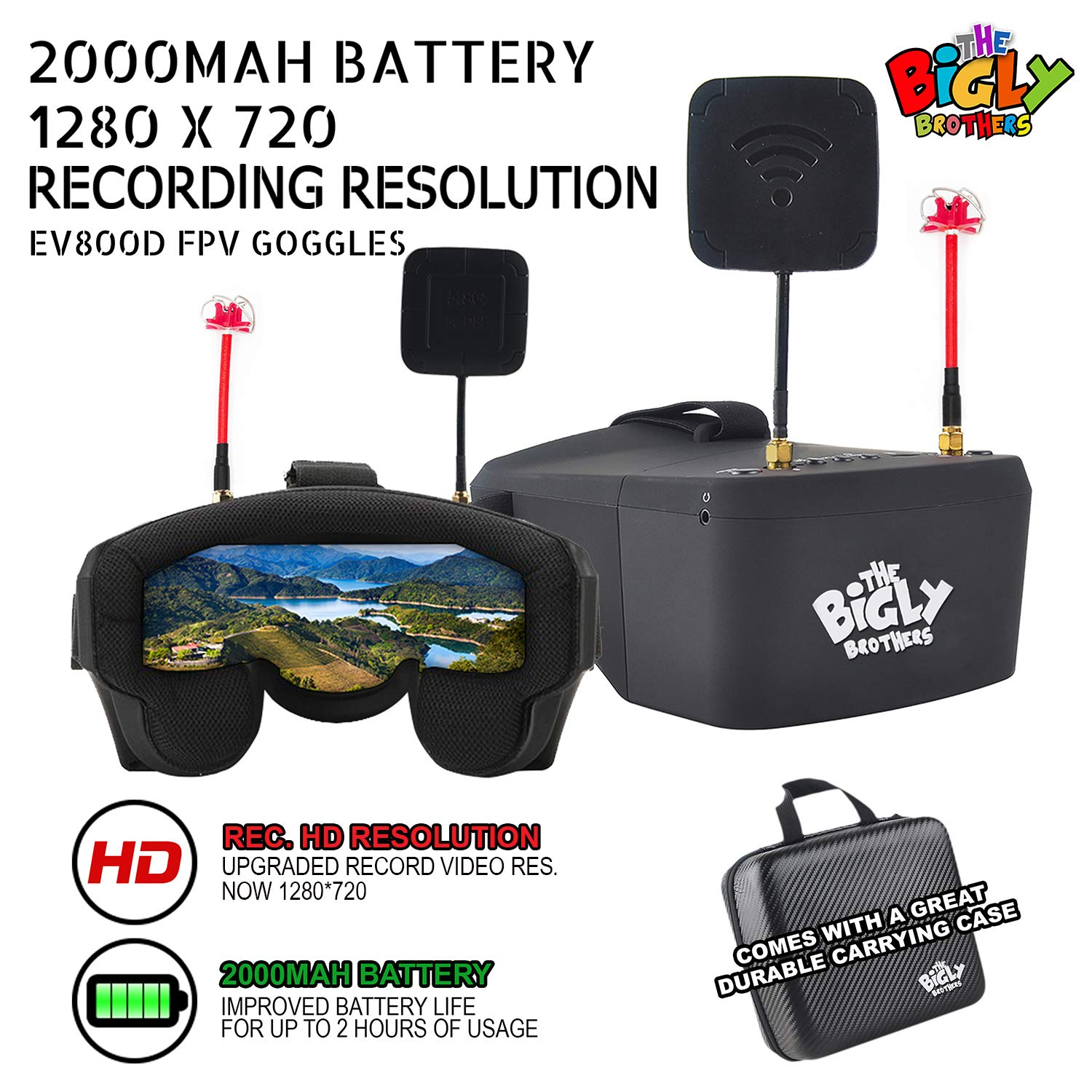 Bigly Brothers EV800D FX Edition Improved Battery Life and Upgraded Resolution 5inches 1280*720 5.8G 40 Channel Video Headset Build-in DVR & 3.7V 2000mAh Battery with Free Carrying Case by Bigly Brothers