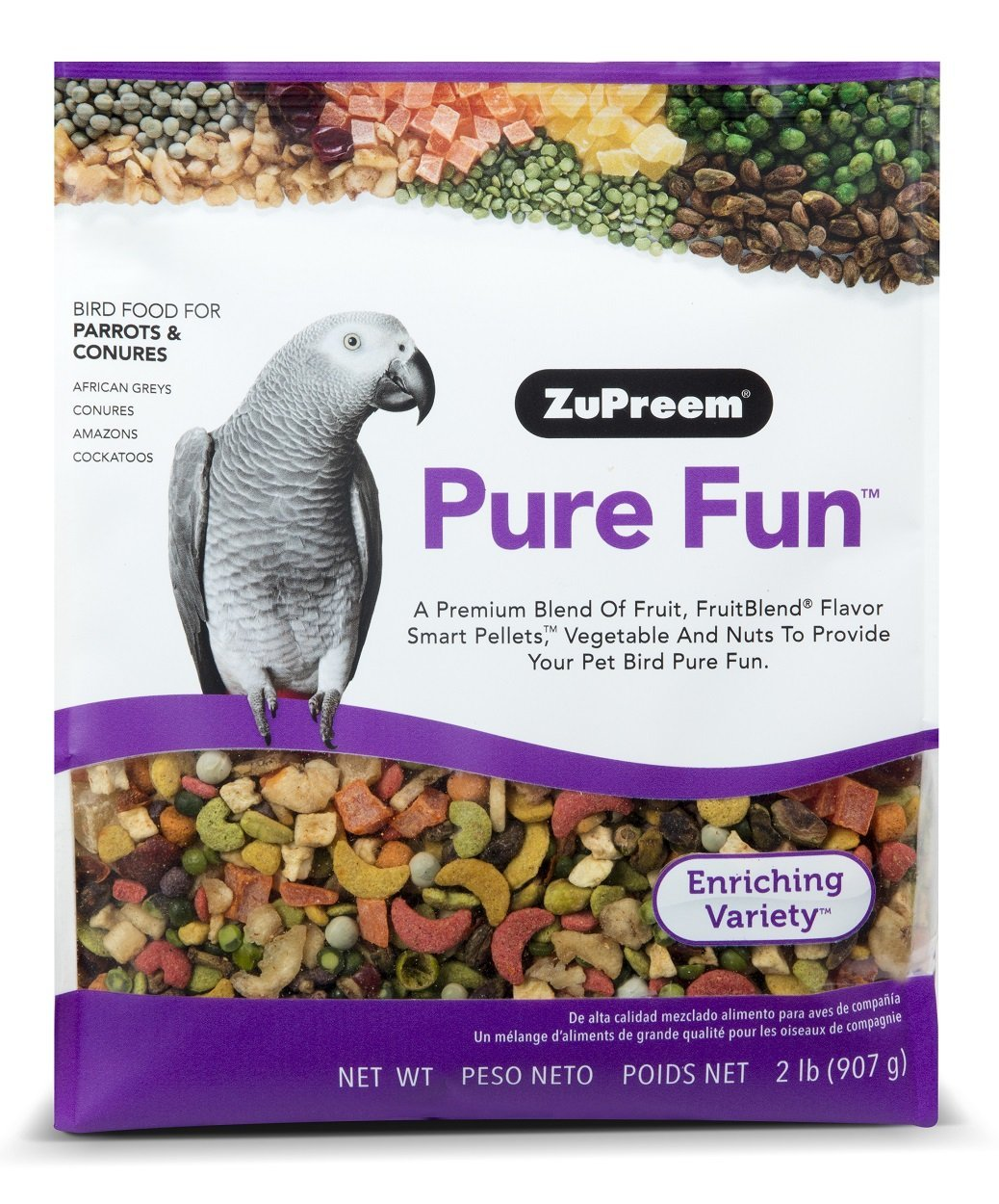 ZuPreem Pure Fun Bird Food for Parrots & Conures, NET WT 2LB (907g) by ZuPreem