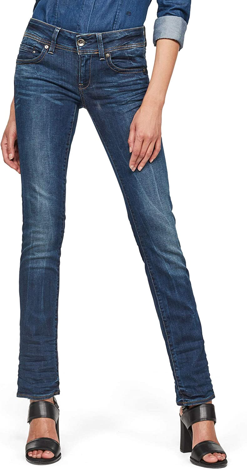 TALLA 31W / 36L. G-STAR RAW Midge Saddle Mid Waist Straight Vaqueros para Mujer