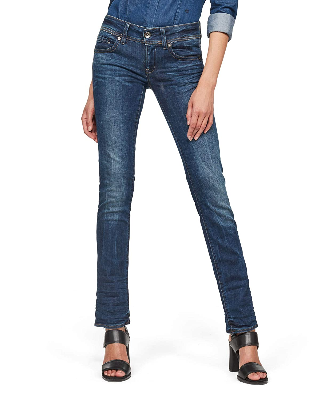 TALLA 31W / 36L. G-STAR RAW Midge Saddle Mid Waist Straight Jeans para Mujer