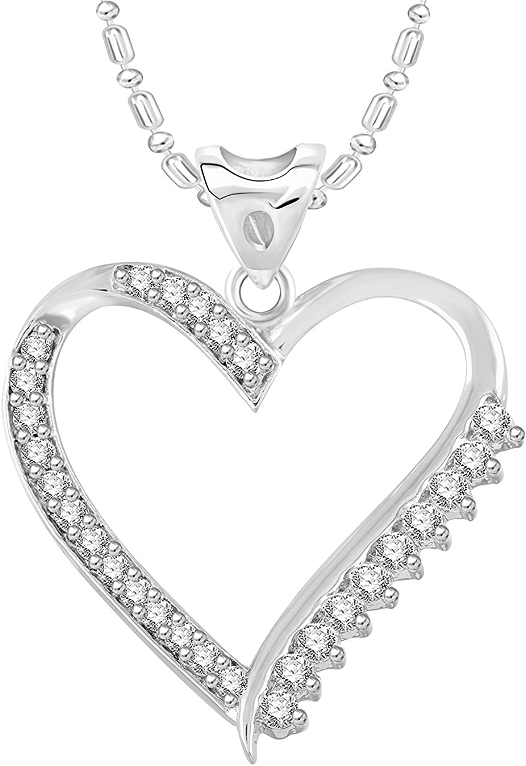 Ashley Jewels Simulated Diamond Studded Classic Designed Pendant Necklace in 14K White Gold Plated With Box Chain