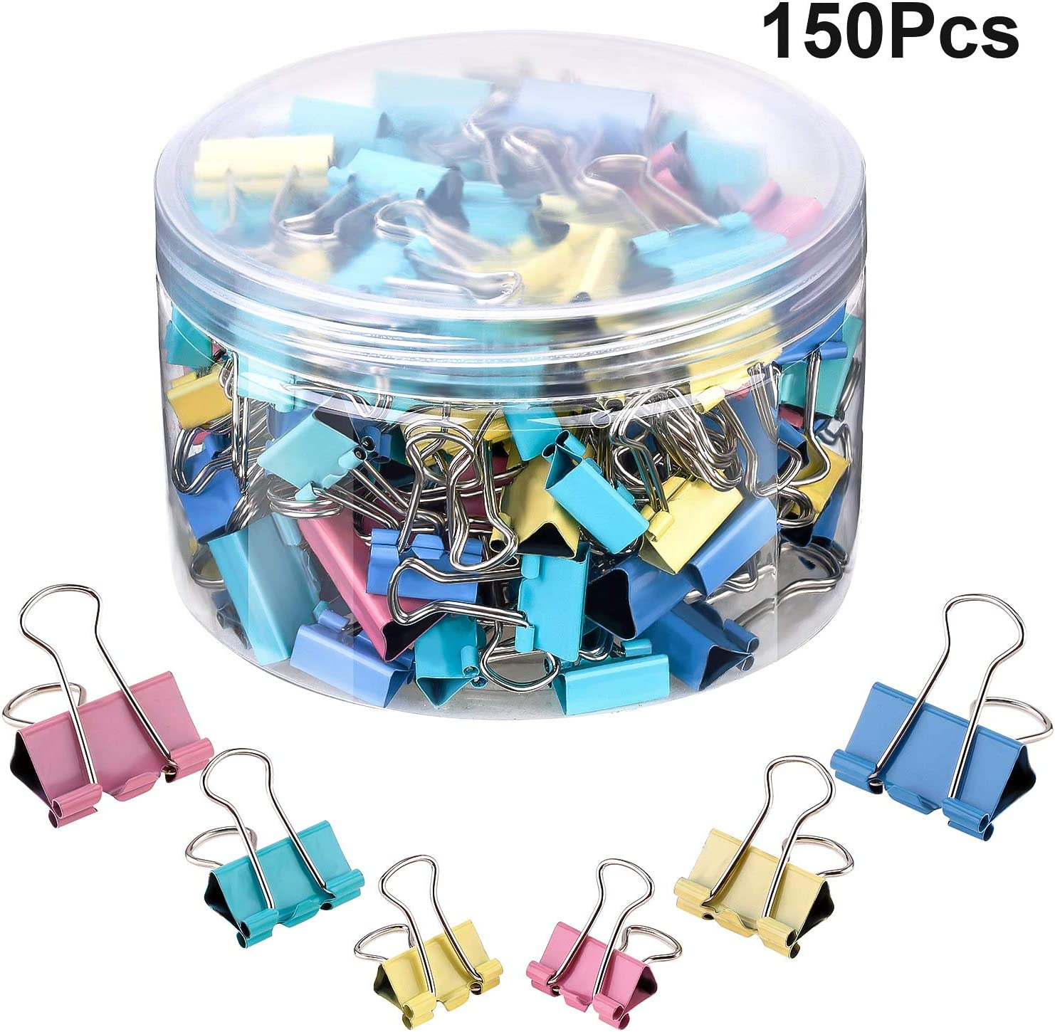 150 Pieces Binder Clips Paper Clamp Clips Assorted Sizes (Multicolor)