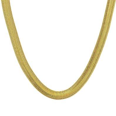 a67a1b846d1b5 Memoir 24KT Gold Plated Snake Design Flat Chain Necklace for Men and Women